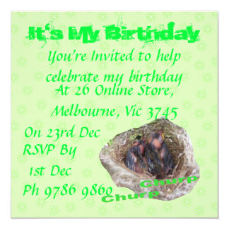 "Baby Birds 5.25"" Square Invitation Card"