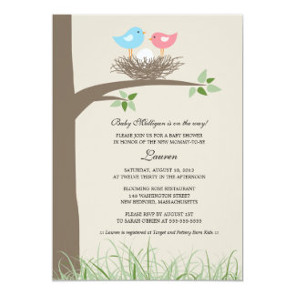 Baby Bird's Nest Baby Shower 13 Cm X 18 Cm Invitation Card