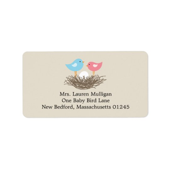 Baby Bird's Nest Baby Shower Address Label
