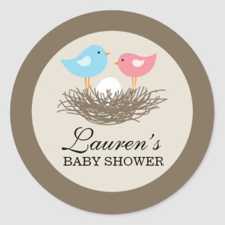 Baby Bird's Nest Baby Shower Classic Round Sticker