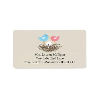Baby Bird's Nest Baby Shower Address Label
