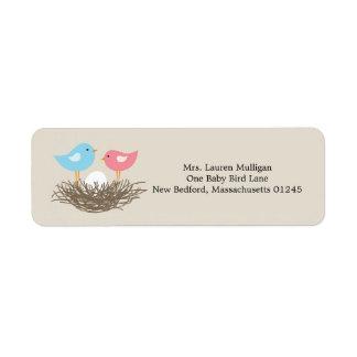 Baby Bird's Nest Baby Shower Return Address Label