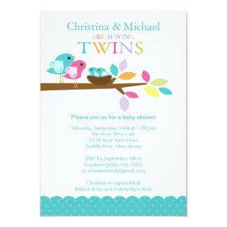 Baby Birds Nest Twins Baby Shower Invitations