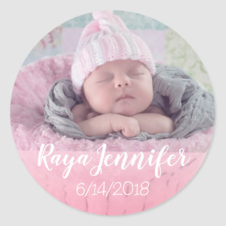 Baby Birth Announcement Personalised Photo Sticker