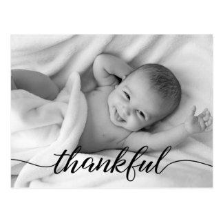 Baby Birth Announcement, Thankful, custom photo Postcard