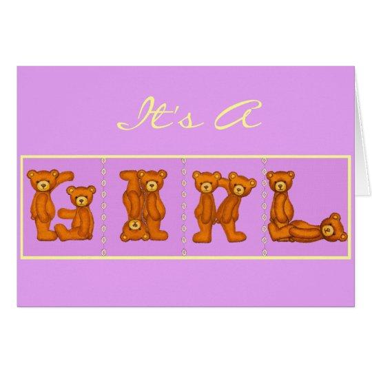 Baby Birth Announcements~Bear Alphabet ~ Purple Card