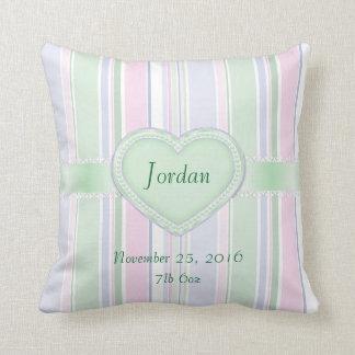 Baby Birth Keepsake Colorful Stripes Cushion