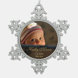 Baby Birth Photo Keepsake Pewter Snowflake Decoration