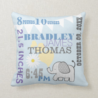 Baby Birth Stats Blue Birthday Weight Cushion