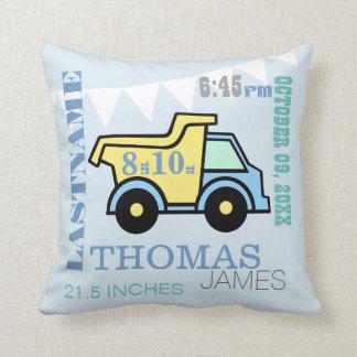 Baby Birth Stats Dump Truck Throw Cushion