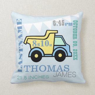Baby Birth Stats Dump Truck Throw Pillow