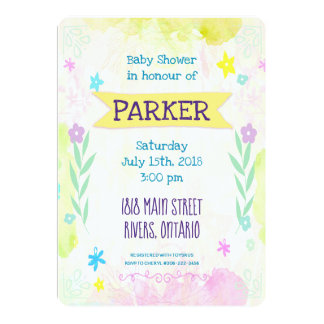 Baby Birth Stats Floral Elements Invitation