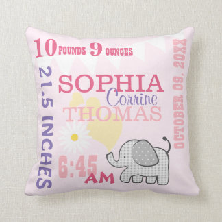 Baby Birth Stats Pink Birthday Weight Cushion