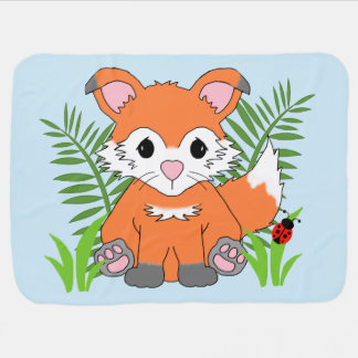 Baby Birth Stats Woodland Fox Animal Nursery Baby Blanket