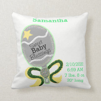 Baby Birth Stats Yellow Green Rattle Pillow