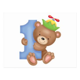 Baby birthday 1 year - teddy postcard