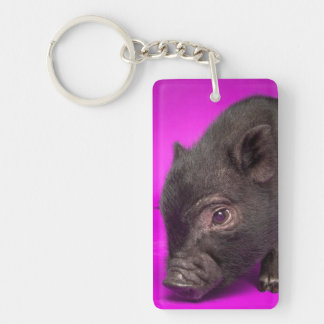 Baby Black Pig Double-Sided Rectangular Acrylic Key Ring