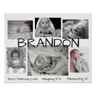 Baby Black & White Picture Personalized Poster