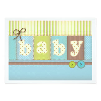 Baby Blanket Cute Quilt Baby Shower Boy Invitation