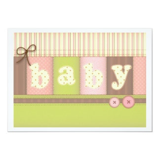 "Baby Blanket Cute Quilt Baby Shower Invitation 5"" X 7"" Invitation Card"