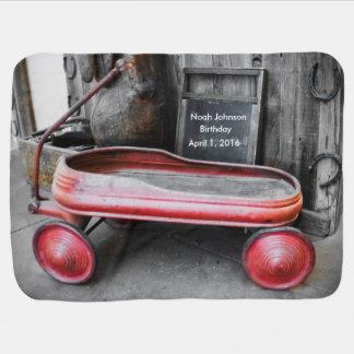 Baby Blanket, Red Wagon, Customizable! Receiving Blanket