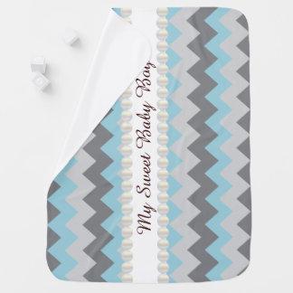 Baby Blanket- Sweet Baby Boy Chevron Design Receiving Blanket