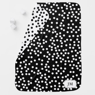 Baby Blanket with Polka Dots | Charcoal and White
