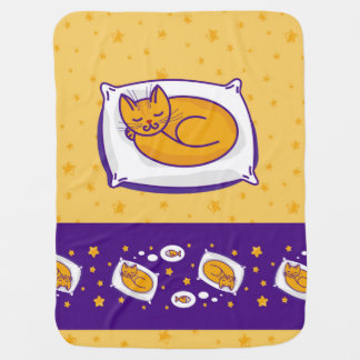 Baby blanket with sleeping ginger cat