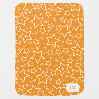 Baby Blanket with Stars | Orange and White