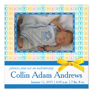 Baby Block Announcement Photo Card