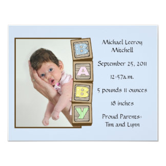 Baby Blocks Birth - Blue 11 Cm X 14 Cm Invitation Card