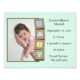 Baby Blocks Birth - Green Custom Invitation
