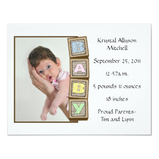 Baby Blocks Birth - White Card