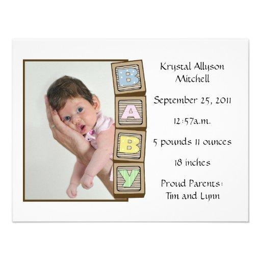 Baby Blocks Birth - White Invitation