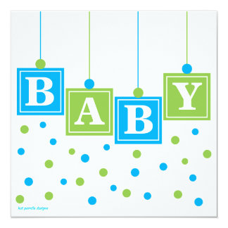 BABY Blocks Blue Green Boy Baby Shower 13 Cm X 13 Cm Square Invitation Card
