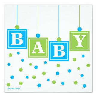 BABY Blocks Blue Green Boy Baby Shower 13 Cm X 13 Cm Square Invitation Card