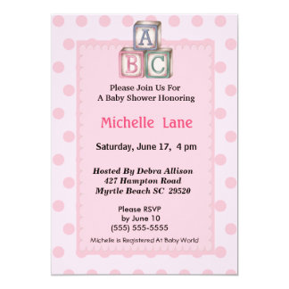 Baby Blocks Girl Shower  Invitation