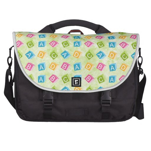 Baby Blocks With Green Textured Background Laptop Bag