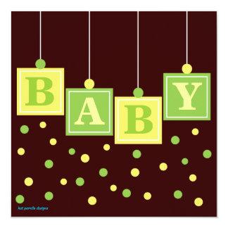 BABY Blocks Yellow Green Neutral Baby Shower Card