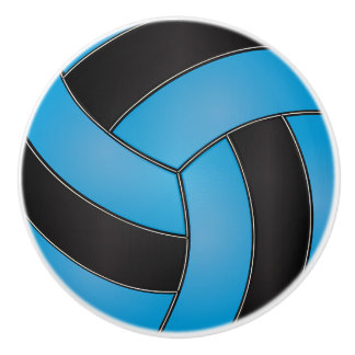 Baby Blue and Black Volleyball Ceramic Knob