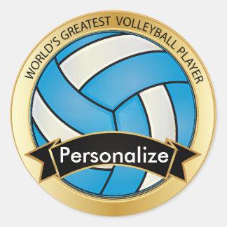 Baby Blue and Black Volleyball Round Sticker