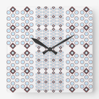Baby Blue and Brown Geometric Wall Clock