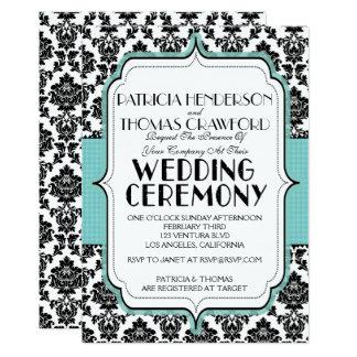 Baby Blue and Damask Wedding Invitation