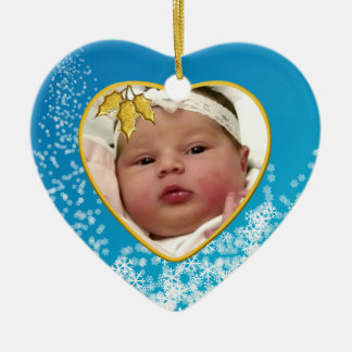 Baby Blue and Gold Baby's First Christmas Heart Ceramic Heart Decoration