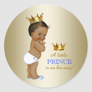 Baby Blue and Gold Ethnic Prince Baby Shower Classic Round Sticker