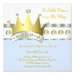 Baby Blue and Gold Prince Baby Shower Personalized Announcement