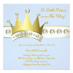 Baby Blue and Gold Prince Baby Shower Invitations