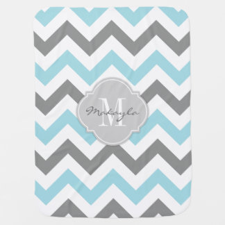 Baby Blue and Gray Chevron with Monogram Pram blanket