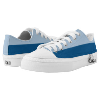 Baby Blue and Midnight Two-Tone Lo-Top Printed Shoes