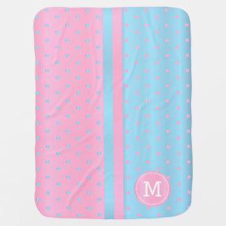 Baby Blue and Pastel Pink Polka Dots - Monogram Baby Blanket